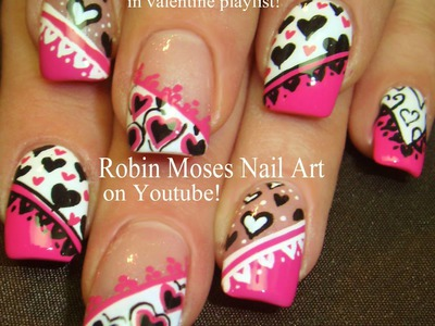 5 Nail Art Tutorials | DIY Valentine Nail Art | Pink Black & White Hearts mix & Match!!!