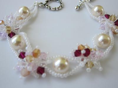 Beaded Bracelet with Pearls Gabriel Newman style . Бисерный браслет с жемчугом Сияние звезд