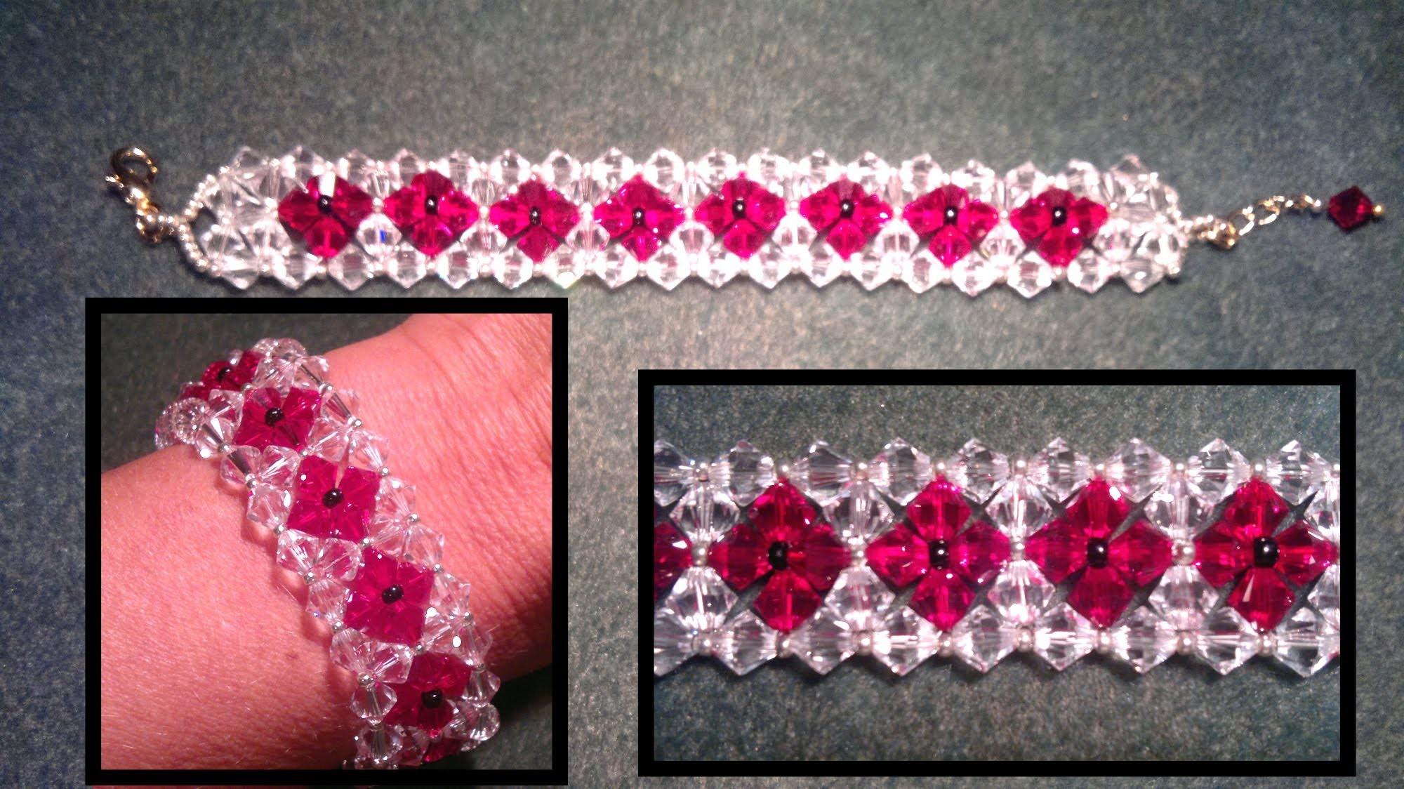 Beading4perfectionists : Duo coloured bracelet made with 2 rows beginners beading tutorial