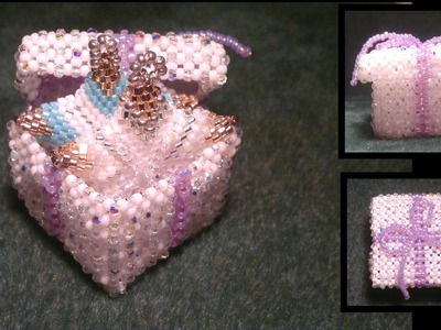 Beading4perfectionists : Little 3D Christmas giftbox beading tutorial