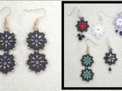 Beading4perfectionists: Superduo and miyuki seedbead earrings beading tutorial