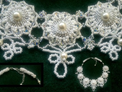 Beading4perfectionists : Wedding. Prom Queen necklace brick stitch around pearl beading tutorial