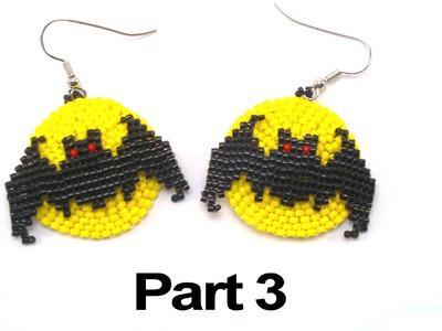 Beading4perfectionists : Halloween Full Moon Bat earrings beading tutorial #3
