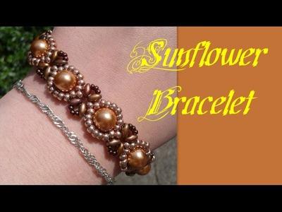 Beginners Bracelet Sunflower Tutorial *(3)* Beading Tutorial by HoneyBeads