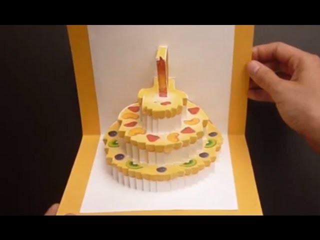 Birthday Cake Kirigami Pop Up Card Tutorial | Free Pattern