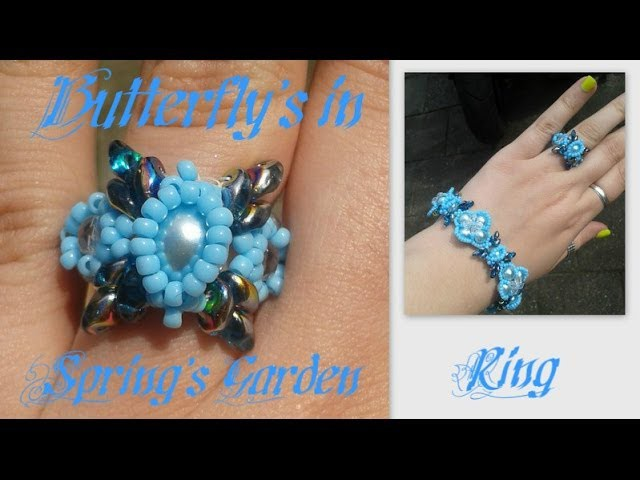 Butterfly's in Spring's Garden Ring Beading Tutorial by HoneyBeads