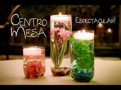 Centro de Mesa Jarrón con Flores Sumergidas y Velas Flotantes