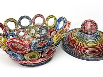 Como hacer cestas de periódico con tapa. Newspaper basket with top.