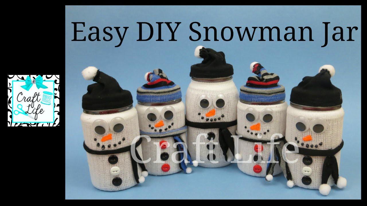 Craft Life Easy Winter Decor DIY Snowman Jar Tutorial