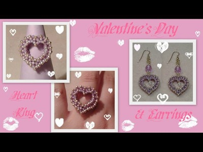 CRAW Heart Ring and Earrings for Valentine's Day Beading Tutorial by HoneyBeads