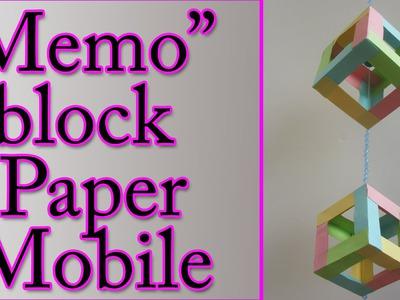 DIY crafts : Memo block paper mobile