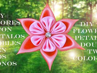 DIY flores con pétalos dobles en dos tonos flower petals double two colors