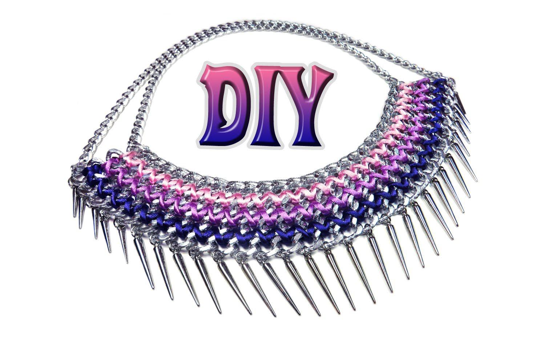 DIY: gradient chain collar [easy]. Модное колье из цепей и ниток своими руками