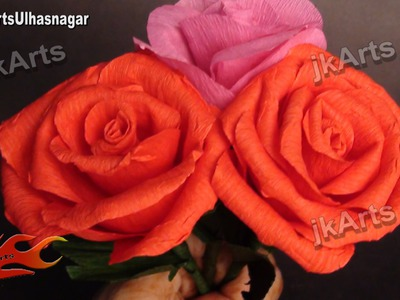 DIY How to make Crepe Paper Rose Flower JK Arts 377