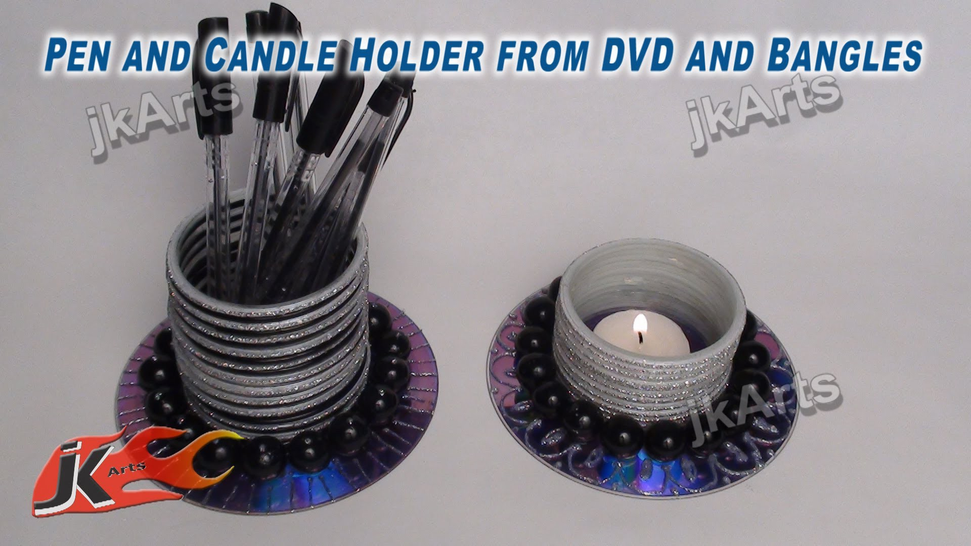 DIY How to make Pen and Candle Holder from DVD and Bangles -  JK Arts 312