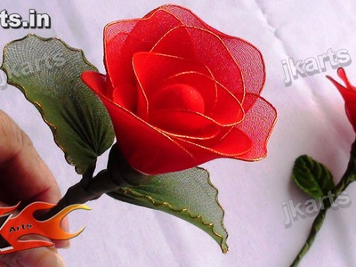 DIY How to make Rose Stocking Flower - JK Arts 091