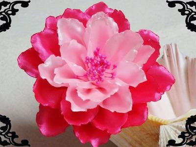 DIY Kanzashi flower,kanzashi tutorial,how to make ribbon flower