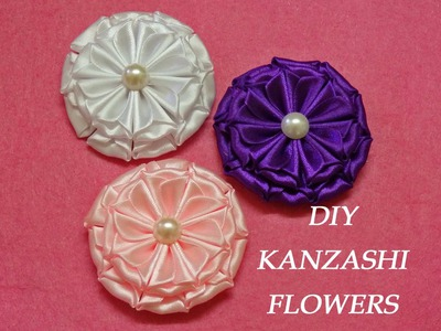 DIY kanzashi flowers,kanzashi tutorial,how to make,easy,kanzashi flores de cinta
