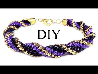 """DIY: Kumihimo spiral bracelet. Браслет """"Кумихимо"""" спиральный из 12 нитей"""