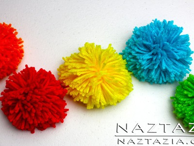 DIY Learn How to Make Pom Poms from Yarn - Clover Pompom Maker Fork Hair Pick Pompoms