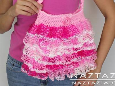 DIY Learn To Crochet Ruffle Yarn Purse Hand Bag Tote - Sashay, Starbella, Ruffles