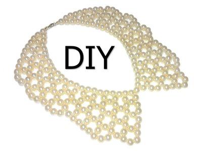 DIY: Pearl beaded collar. Воротник из жемчужных бусин своими руками