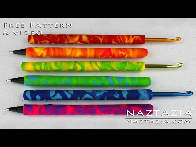 DIY Polymer Clay Crochet Hook & Pen Tutorial (Cover Covered Clay Hooks Pens Grip Grips)
