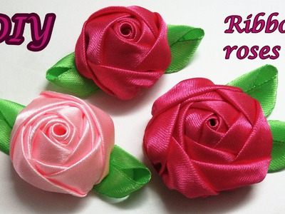 Diy ribbon roses, how to make satin ribbon roses,kanzashi roses tutorial