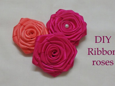 Diy ribbon roses, ribbon rosettes tutorial, how to make,flores de cinta