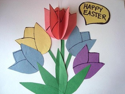 DIY TULIPS Pop-Up  EASTER CARD, 3D CARD, Crafts for Kids,   Birthday, Mother's Day,