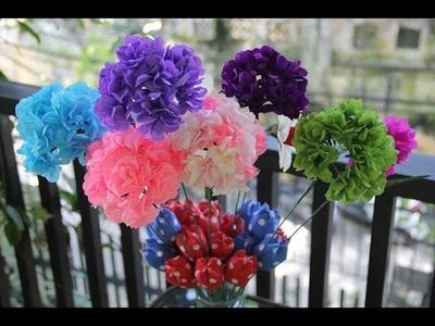 Hướng dẫn làm hoa cẩm tú cầu bằng giấy nhún - Hydrangea paper flower tutorial