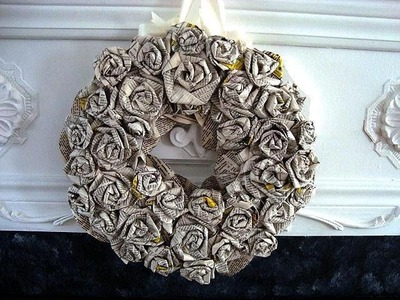 HOW TO DIY ROLLED PAPER ROSES WREATH, newsprint, book pages, paper crafts
