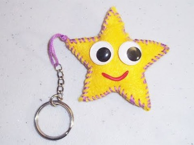 How to make a star mini felt plushie key chain - EP