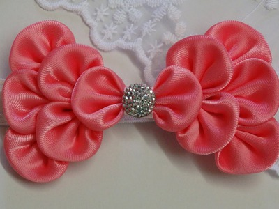 How to make kanzashi hair bow,Diy ribbon bow,baby headband tutorial