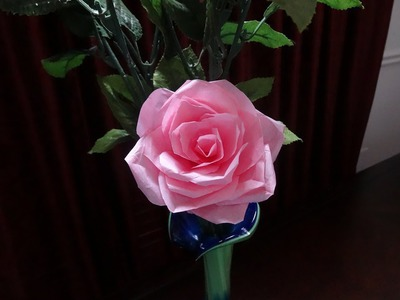 How to make tissue paper rose flower with wrapping method. Valentine's day craft