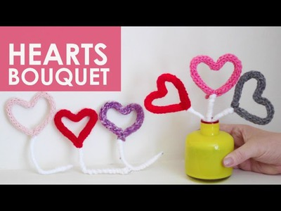 Knitted HEARTS BOUQUET - Valentine's Day Gift DIY