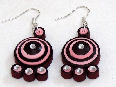 Latest Quilling Paper Earring making | Light rose with maroon color