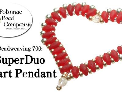Make a SuperDuo Heart Pendant (Beadweaving 700)