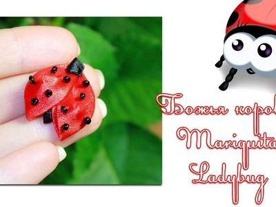"Мастер класс ""Божья коровка Канзаши"". Ladybug Kanzashi. Mariquita Kanzashi"
