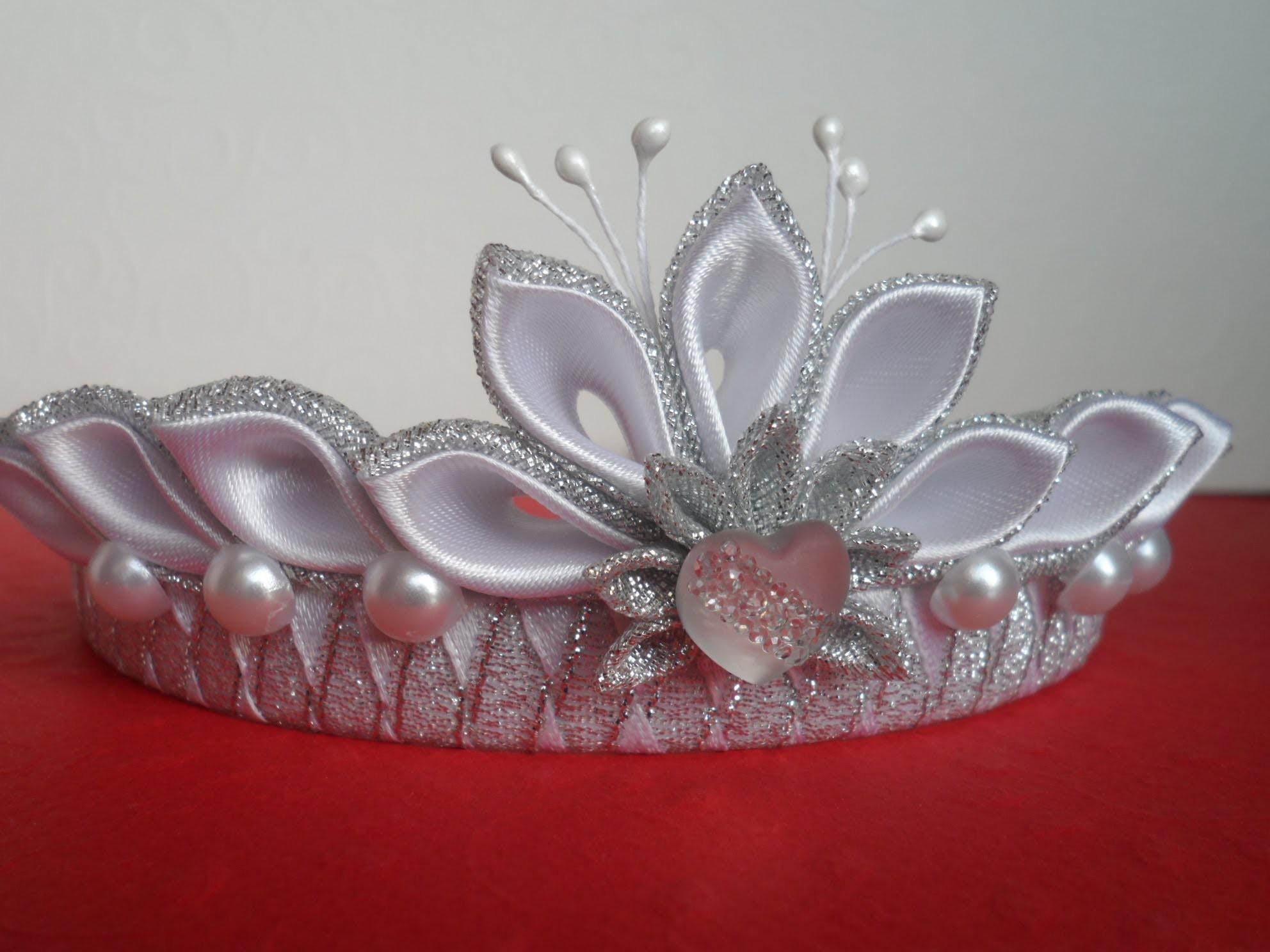 Новогодняя Корона Канзаши ! Для начинающих. New Crown Kanzashi! for beginners