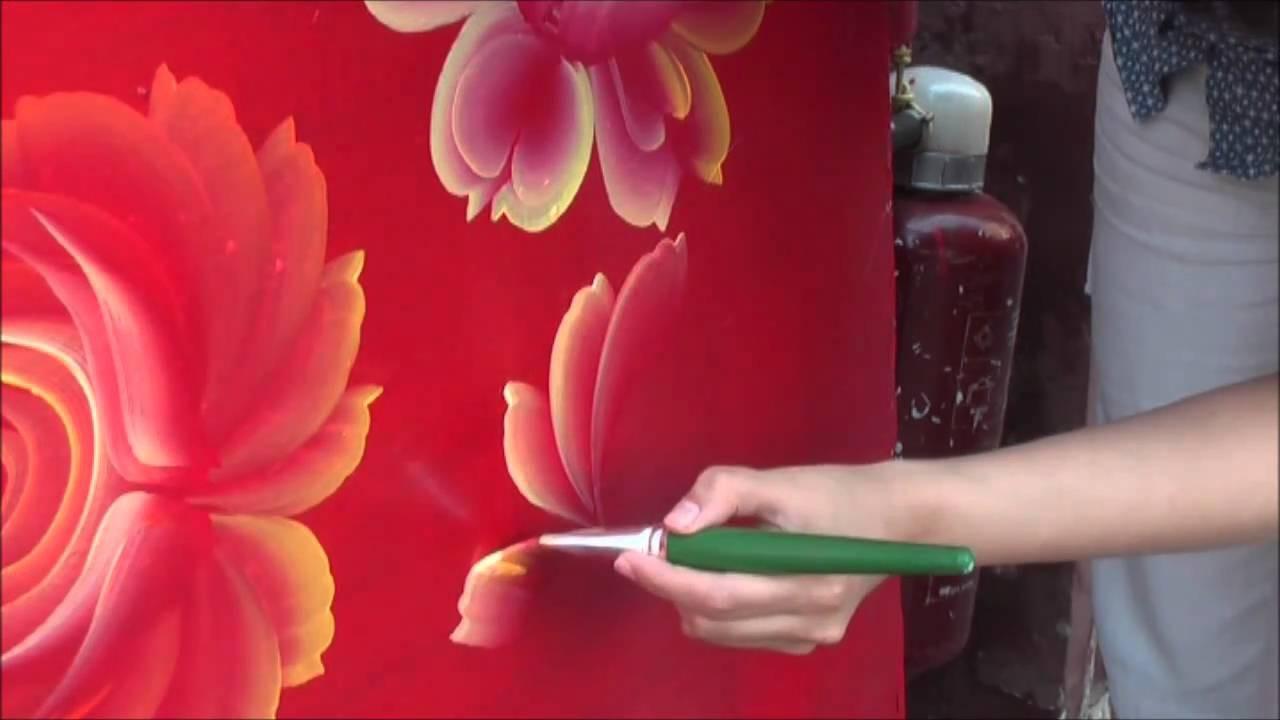 One Stroke Painting. Tagil roses. Tatyana Kudryavtseva