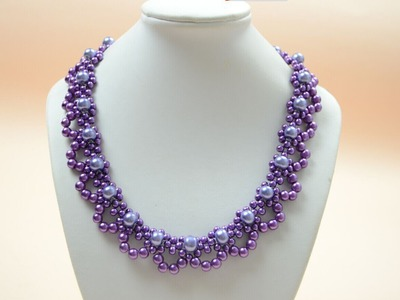 PandaHall Jewelry Making Tutorial Video--How to Bead a Purple Pearl Lace Necklace for Brides