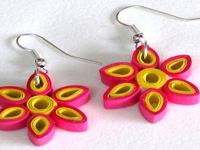 Paper Ear Ring Making Techniques | Rose & Yellow Color Flower Style
