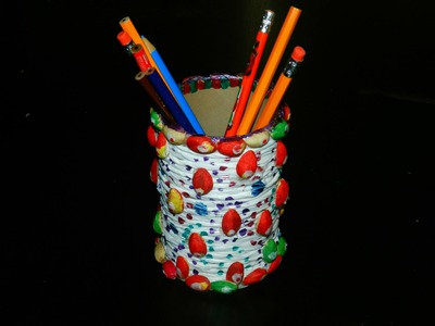 Recycled DIY: Pen.pencil stand with salt tin, plastic bag & pista shells