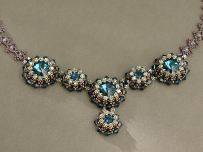 Sidonia's handmade jewelry - Blue Roses Necklace - Swarovski Necklace P1