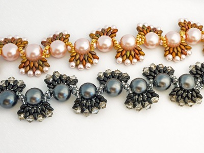 TheHeartBeading: Beaded Bracelet with Pearls, Crystals and Superduos Tutorial