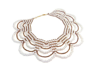 Tutorial: beaded collar necklace with pearls. Колье из бисера и бусин (мастер-класс)