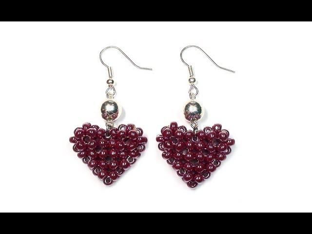 Tutorial: Beaded ❤ HEART ❤ Earrings. МК: Серьги из бисера СЕРДЕЧКИ