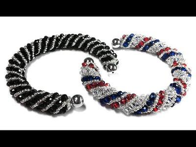 Tutorial: beads style №4 for pandora bracelet. Спиральный жгут из бисера и бусин