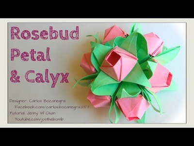 Valentine's Day Crafts: Origami Rose Flower - How to Fold Rosebud Petal & Calyx Paper Crafts Bouquet
